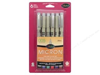 Sakura Pigma Micron 005 Pen Set .20 mm Assorted Color 6 pc.
