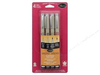 craft & hobbies: Sakura Pigma Micron Pen Set Assorted Size Sepia 4 pc.