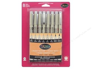 craft & hobbies: Sakura Pigma Micron Pen Brush Graphic Set Assorted Size Black 8 pc.