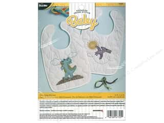 Bucilla Stamped Cross Stitch Bib Pair Kit Dino Baby