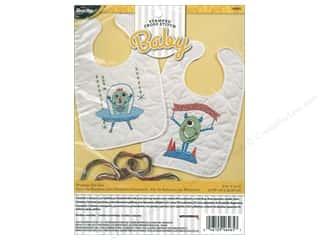 Clearance: Bucilla Stamped Cross Stitch Bib Pair Kit Monster