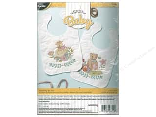 Bucilla Stamped Cross Stitch Bib Pair Kit Sweet Baby