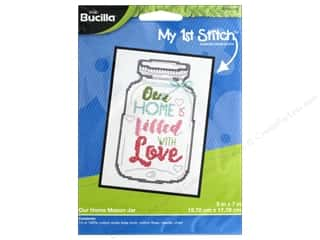 yarn & needlework: Bucilla Counted Cross Stitch Kit 5 x 7 in. Our Home Mason Jar