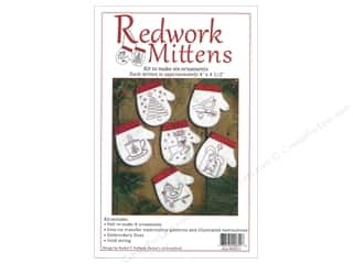 Clearance: Rachel's Of Greenfield Kit Felt Redwork Mittens