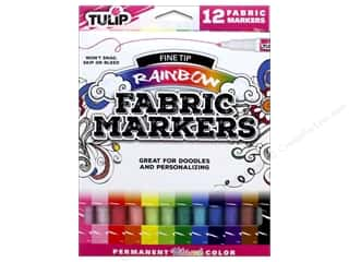 craft & hobbies: Tulip Fabric Marker Fine Tip 12 pc. Rainbow