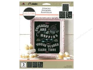 craft & hobbies: Plaid FolkArt Lily & Val Stencils Variety Packs - Cupcakes