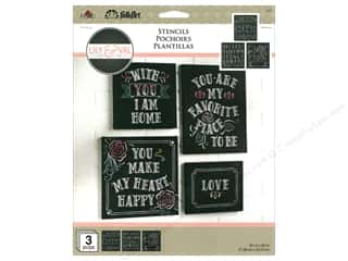 "craft & hobbies: Plaid Stencil Folkart 8.5""x 9.5"" Lily & Val Welcome 3pc"