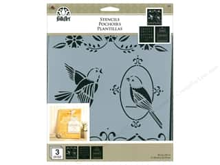 craft & hobbies: Plaid FolkArt Craft Stencils Value Packs - Birdcage