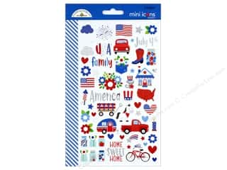 stickers: Doodlebug Collection Yankee Doodle Sticker Mini Icons (12 sets)