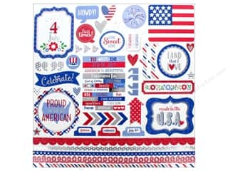 stickers: Doodlebug Collection Yankee Doodle Sticker This & That (12 pieces)