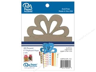 Clearance: Paper Accents Chipboard Shape 4 in. 3D Present 2 pc. Natural