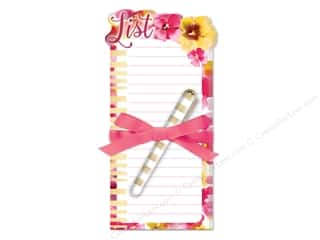 die cuts: Lady Jayne Note Pad Die Cut Floral With Pen Pink/Yellow