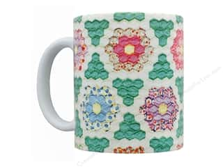 Happy Lines Quilt Ceramic Mug Hexagon Vintage Quilt