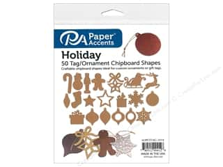 Chipboard: Paper Accents Chip Shape 50pc Ornaments Assorted Holiday