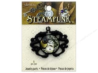 beading & jewelry making supplies: Solid Oak Pendant Steampunk Sea Serpent Gunmetal