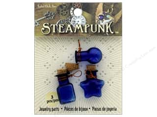 beading & jewelry making supplies: Solid Oak Pendant Steampunk Bottles Cobalt Blue