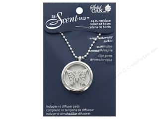 Solid Oak Locket Es-Scent-ials Round Butterfly