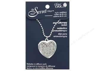 beading & jewelry making supplies: Solid Oak Locket Es-Scent-ials Heart Lace