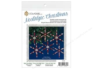 Solid Oak Kit Beaded Ornament Snowflakes Ruby