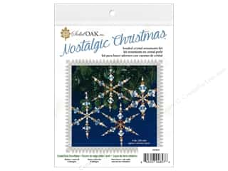 beading & jewelry making supplies: Solid Oak Kit Beaded Ornament Icicles Crystal/Gold