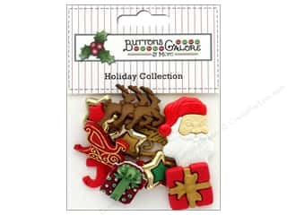 Clearance: Buttons Galore Theme Button Holiday Santa's Sleigh Ride