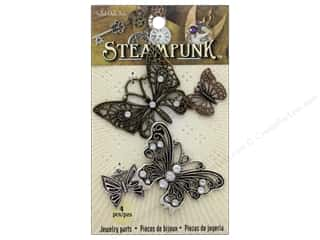 beading & jewelry making supplies: Solid Oak Charm Steampunk Butterflies 4 pc