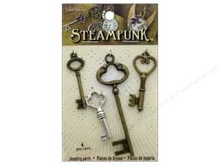 beading & jewelry making supplies: Solid Oak Charm Steampunk Large Keys 4pc