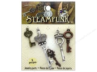 Solid Oak Charm Steampunk Small Keys 5 pc