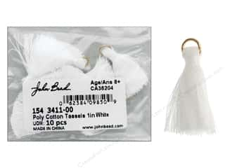"John Bead Tassel Poly Cotton 1"" White 10pc"