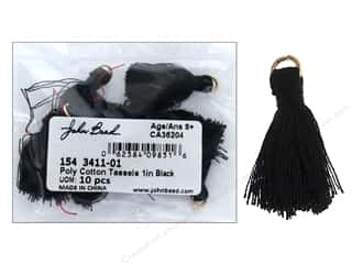 craft & hobbies: John Bead Tassel 1 in. Poly Cotton Black 10 pc
