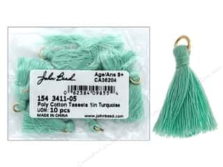 "John Bead Tassel 1"" Poly Cotton Turquoise 10 pc"