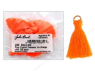"John Bead Tassel 1"" Poly Cotton Orange 10 pc"