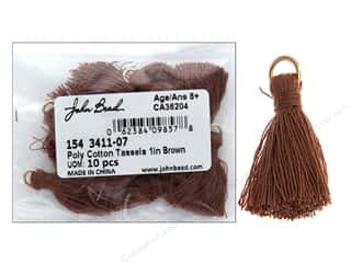 John Bead Tassel 1 in. Poly Cotton Brown 10 pc