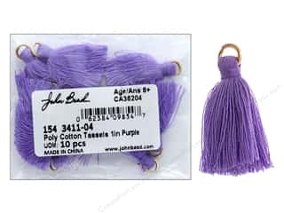 "John Bead Tassel Poly Cotton 1"" Purple 10pc"