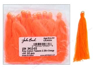 craft & hobbies: John Bead Tassel 2.25 in. Poly Cotton Orange 10 pc