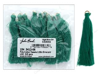 "John Bead Tassel Poly Cotton 2.25"" Emerald 10pc"