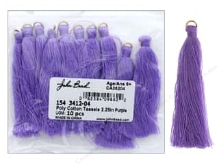 "John Bead Tassel Poly Cotton 2.25"" Purple 10pc"