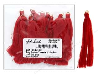 "John Bead Tassel Poly Cotton 2.25"" Red 10pc"
