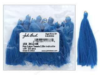 "craft & hobbies: John Bead Tassel Poly Cotton 2.25"" Indicolite 10pc"