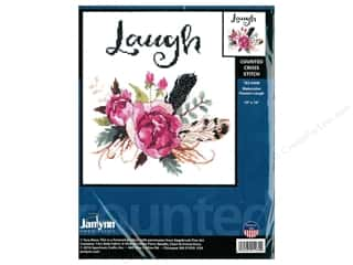 "yarn & needlework: Janlynn Cross Stitch Kit 10""x 10"" Watercolor Flowers Laugh"