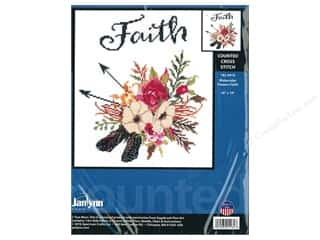 "stamps: Janlynn Cross Stitch Kit 10""x 10"" Watercolor Flowers Faith"