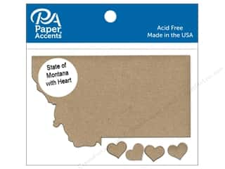 Clearance: Paper Accents Chip Shape State of Montana with Heart Natural 4pc