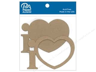 Clearance: Paper Accents Chip Shape I Heart Natural 8pc