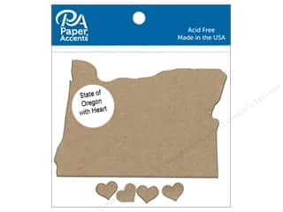 Chipboard: Paper Accents Chip Shape State of Oregon with Heart Natural 4pc