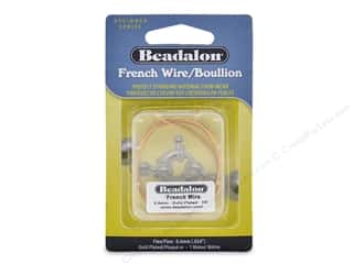 beading & jewelry making supplies: Beadalon French Wire Fine .6 mm 1 M Gold Color