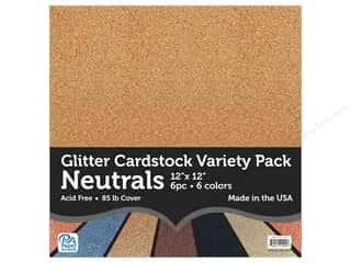 Paper Accents Glitter Cardstock Variety Pack 12 in. x 12 in. Neutrals 6 pc.