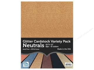 Paper Accents Glitter Cardstock Variety Pack 8 1/2 x 11 in. Neutrals 6 pc.