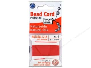 beading & jewelry making supplies: Beadalon Cord 100% Silk Size 6 Red 2 M