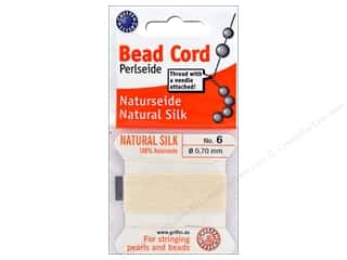 beading & jewelry making supplies: Beadalon Cord 100% Silk Size 6 White 2 M