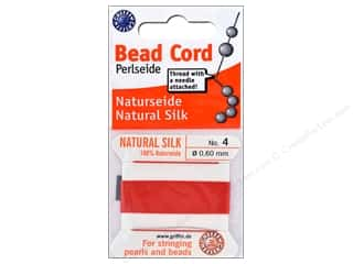 beading & jewelry making supplies: Beadalon Cord 100% Silk Size 4 Red 2 M